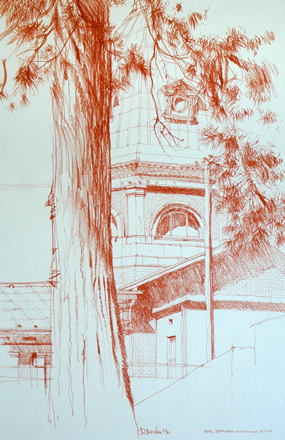 Bathurst Courthouse, NSW Mid-West. Conte on paper.