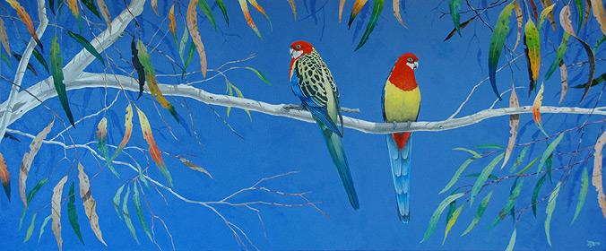 Eastern Rosellas. Acrylic on canvas.