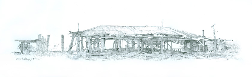 Hennesey's Mill, West Kempsey NSW. Pencil on paper.