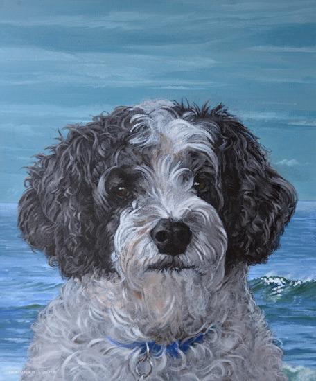 Lucky, a south coast doggie. Acrylic on canvas.
