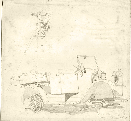 Old Ford baking in the sun. Kenebri NSW 1960s. Pencil on paper.