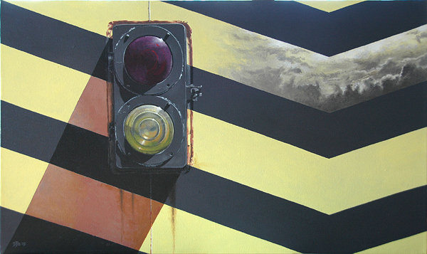 """Flashpoint. From the """"Rail"""" series. Acrylic on canvas."""