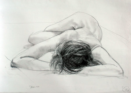 Life Drawing, female nude.