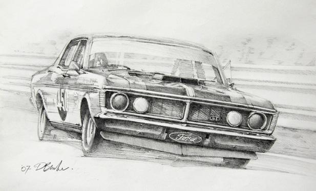 Allan Moffat's Ford GTO. Pencil on paper.