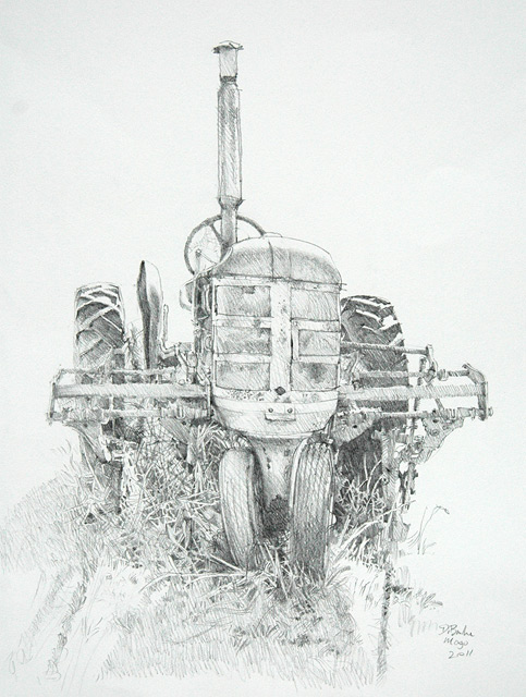 The Tractor Yard, Mogo NSW. Pencil on paper.