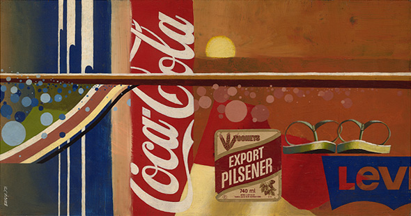 Pilsener, an acrylic painting from the early 70s based around beach culture.