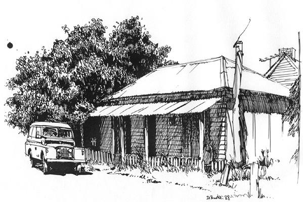 Street Scene, Sofala NSW. Pen & Ink on screen board.